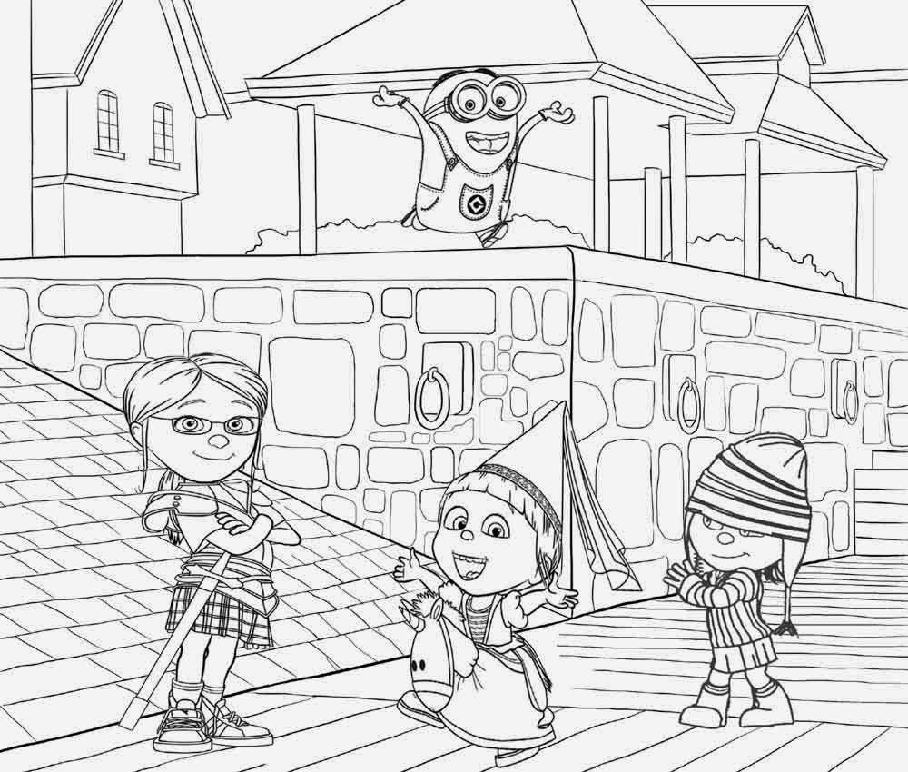 Minion maid coloring pages - Free Printable Minions House Miss Hattie S Home For Girls Margo Edith And Agnes Minion Coloring Page