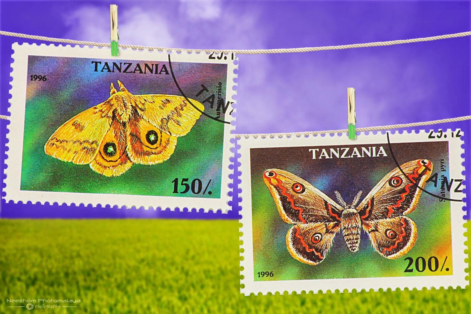 Tanzania Moth stamps 1996 - Auto merisio, Saturnia pyri