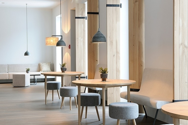 Wooden tables in Boutique Hotel, Austria