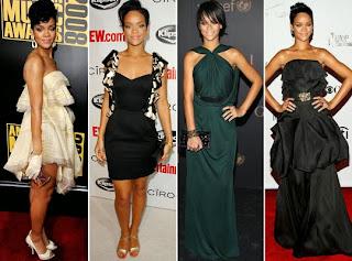 Rihanna com vestidos glamurosos
