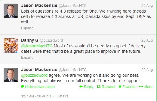 HTC One and HTC DNA to get Android 4.3 Jelly Bean in September 2013 tweets Jason