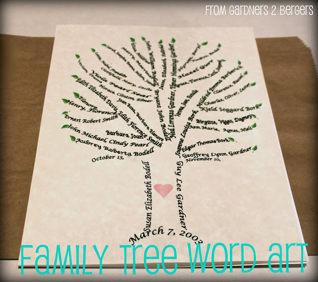family tree word art diy jewelry framed family recipes