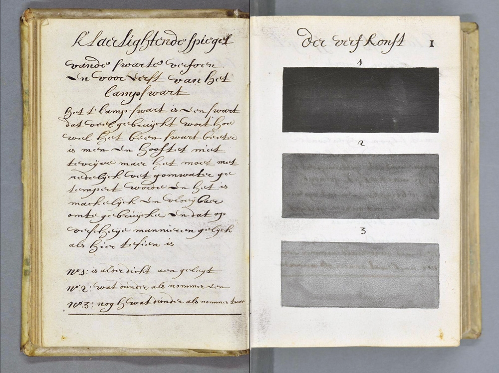 """""""Traité des couleurs servant à la peinture à l'eau"""" (Klaer lightende Spiegel der Verfkonst...Tot Delft, gedaen en beschreeven dour A. Boogert, 1692)"""