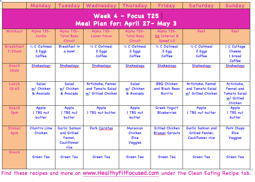 T25 Meal Plan, www.HealthyFitFocused.com, Clean Eating Meal Plan