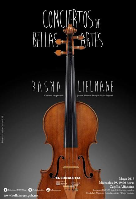 Conciertos de Bellas Artes presenta a la violinista Rasma Lielmane en la Capilla Alfonsina