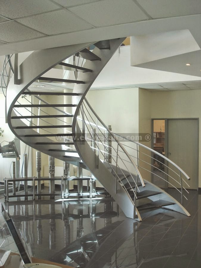 10 staircase designs in hi tech style for Spiral staircase design plans