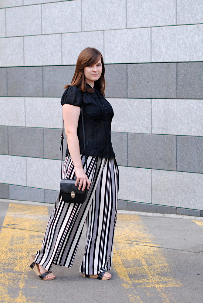black white striped palazzo pants