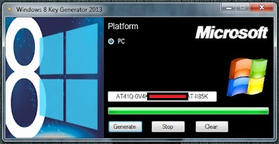This is Windows 8 Genuine Key Generator and Activator 2013 screenshot