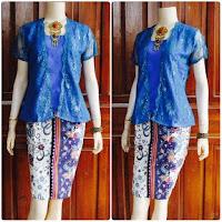 model baju batik broklat kebaya biru motif gentong