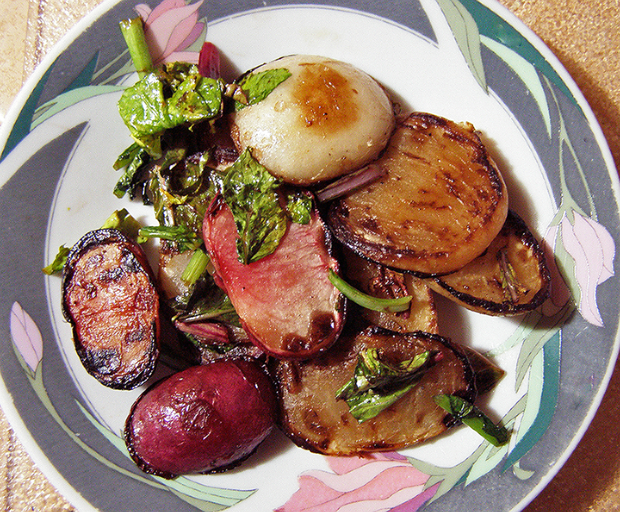 Sauteed White and Red Turnips and Greens
