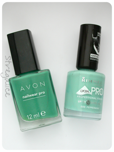 Avon Peppermint Leaf and Rimmel Peppermint - bottles