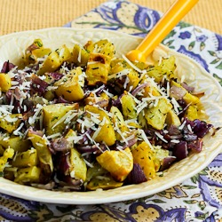 ... Roasted White Sweet Potatoes with Red Onions, Rosemary, and Parmesan