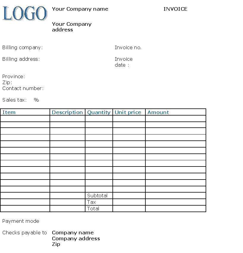 accounting manual: commercial documents, Invoice examples