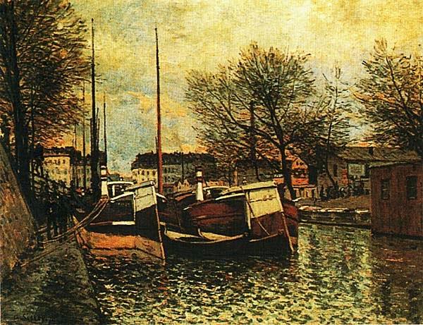 Альфред Сислей. Баржи на канале Сен-Мартен в Париже 1870.