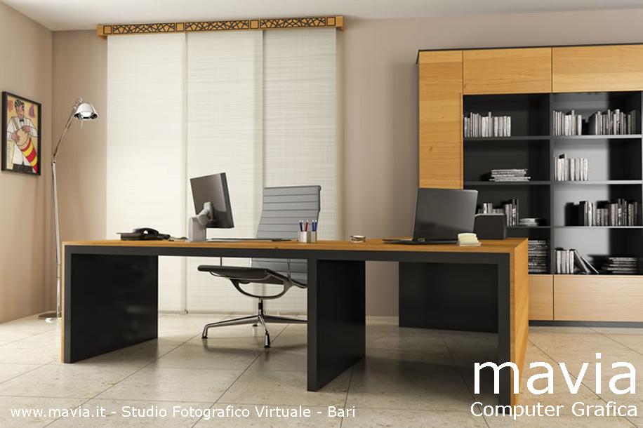 Amazing rendering d studio ufficio moderno con tende a - Arredamento da ufficio ...