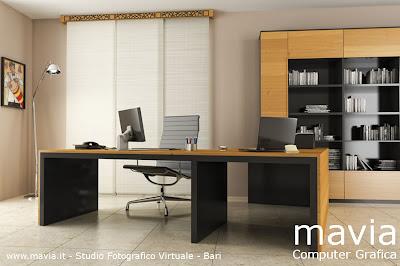 Arredamento di interni rendering 3d studio ufficio - Arredamento studio casa moderno ...