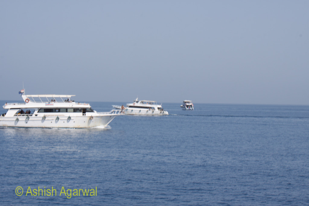 Multiple small ships carrying tourists in the waters of the Red Sea - moving from Sharm el Sheikh to Ras Muhammed marine park