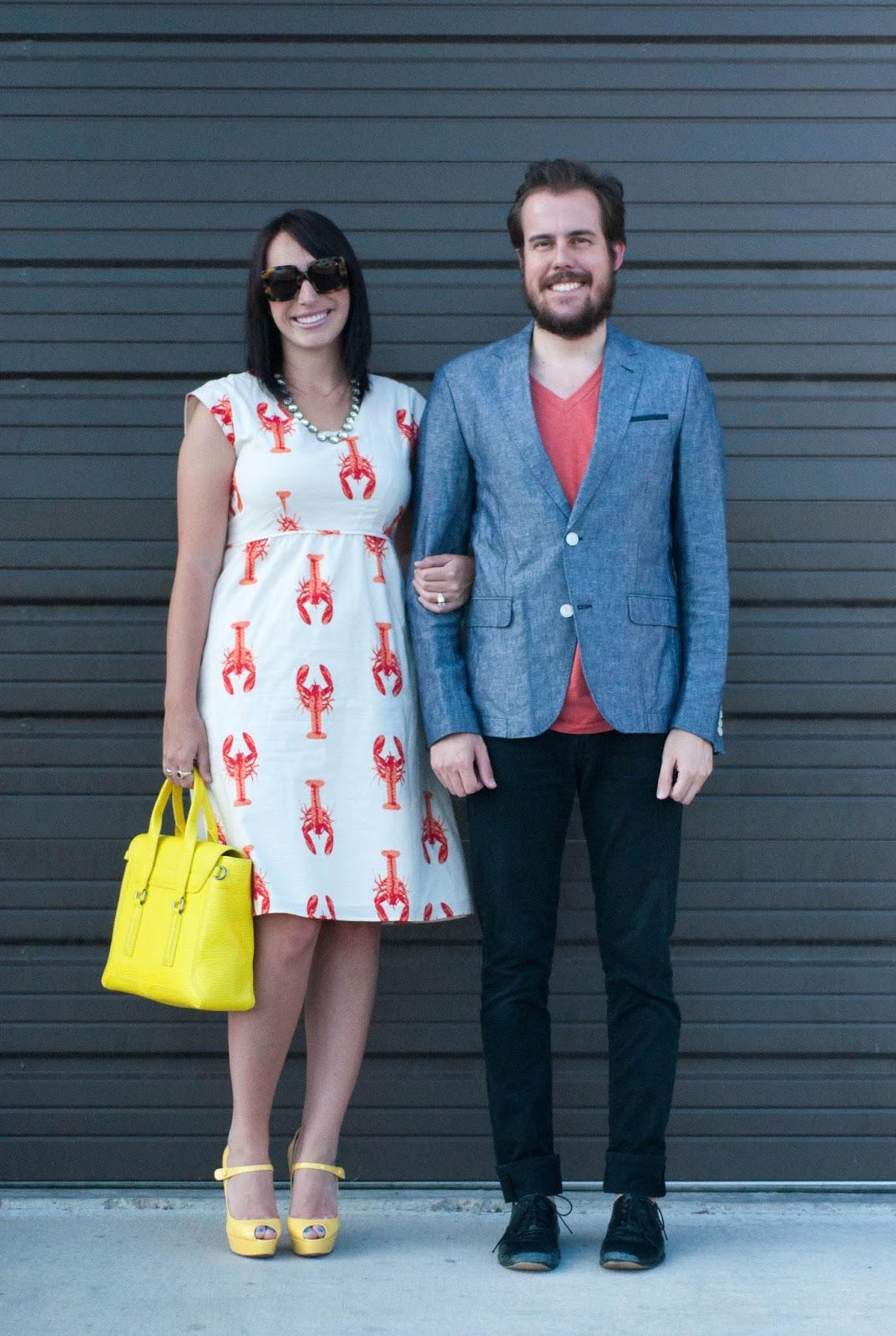 ootd, style blog, couples style blog, lobster dress, christian louboutin bana heels, 3.1 phillip lim pashli medium satchel, jcrew necklace