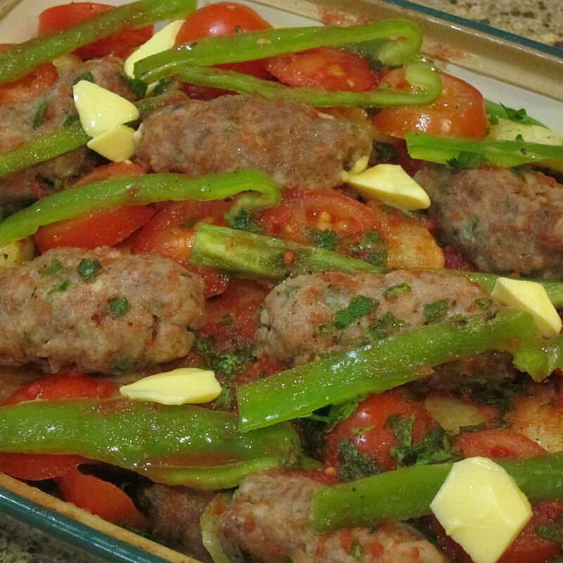 Izmir Köfte - casserole of meatballs, potatoes, tomatoes and peppers