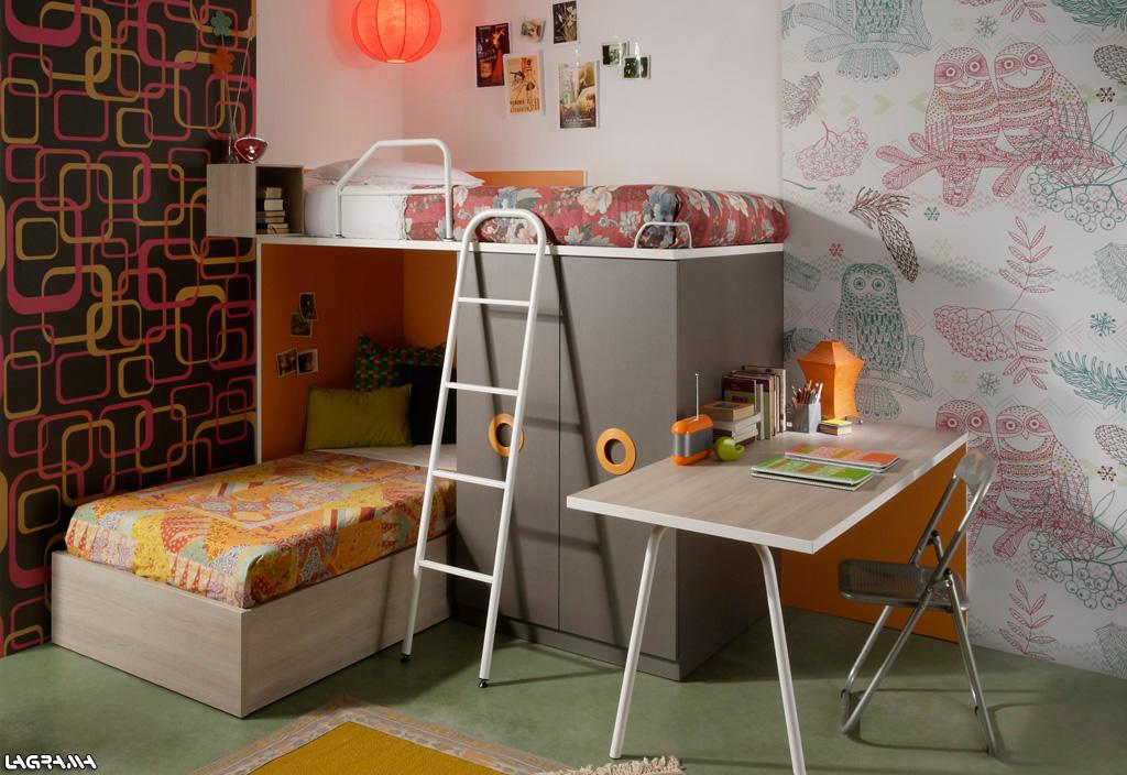 Dormitorios juveniles en colores arena Dormitorio juvenil en l
