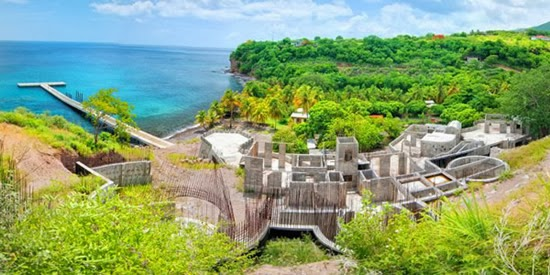 The part-complete structures and view of Dominica's coastline