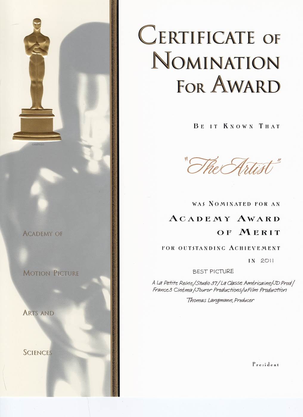 The word is art by renee troy academy award nomination certificates academy award nomination certificates yadclub Gallery