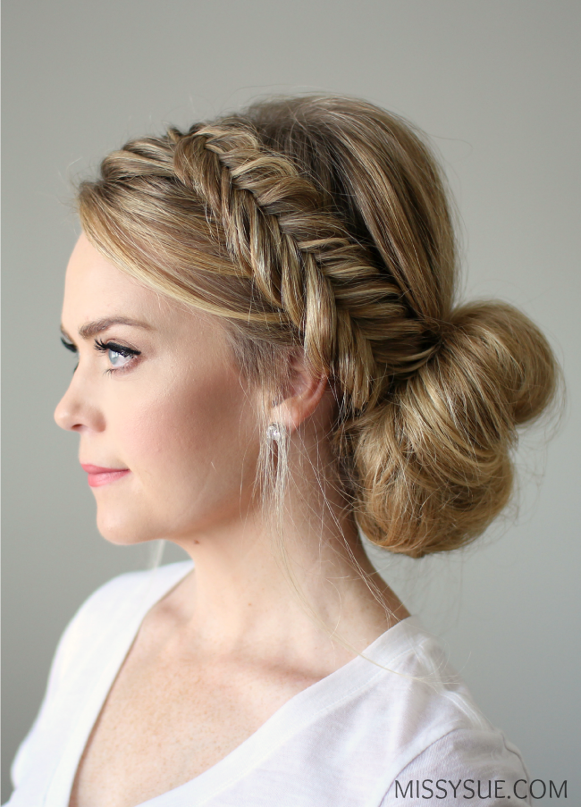 Fishtail Braid Updo Hairstyle Tutorial, Step By Step ...