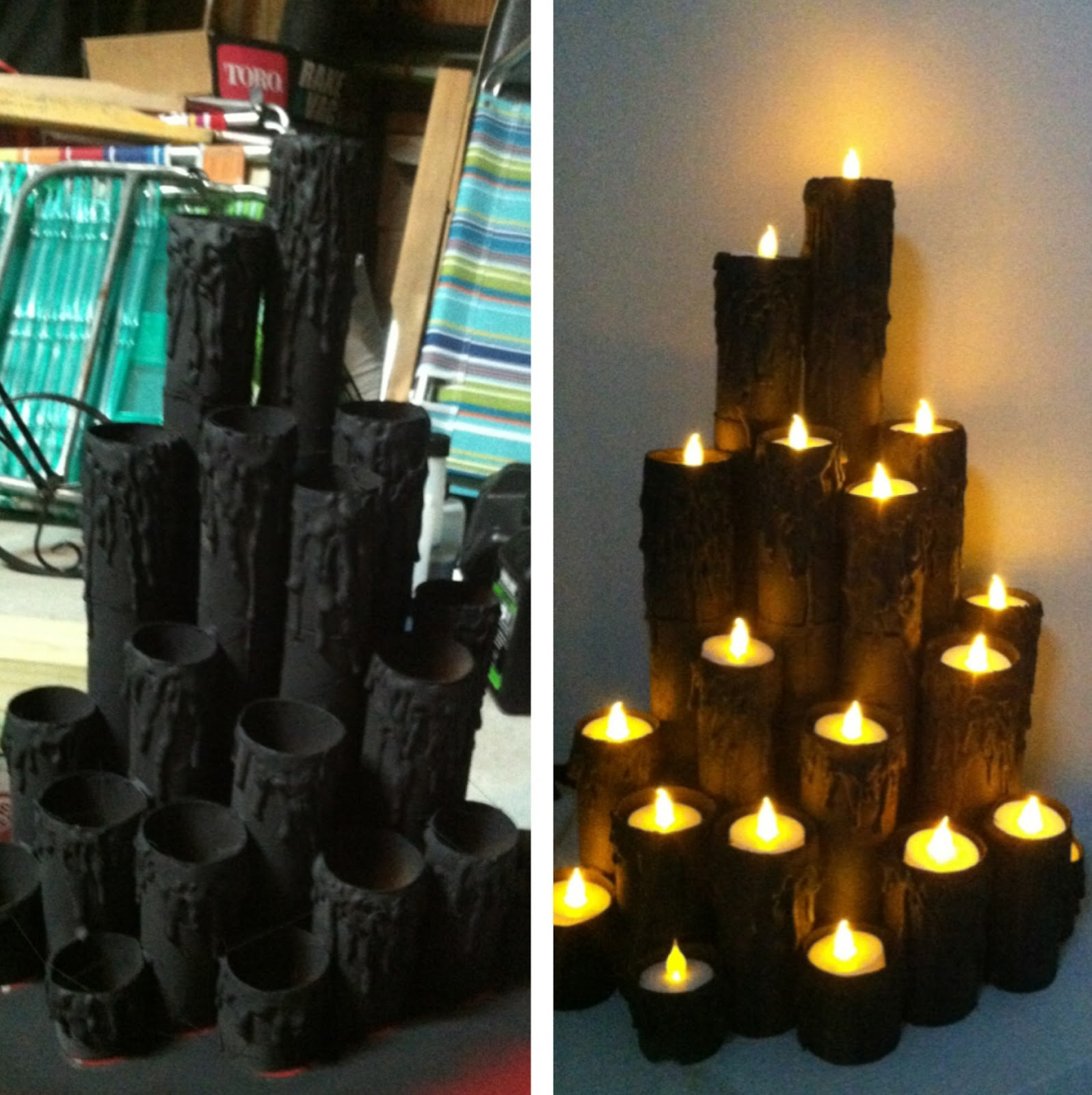 peace love linds halloween faux burning candles diy. Black Bedroom Furniture Sets. Home Design Ideas