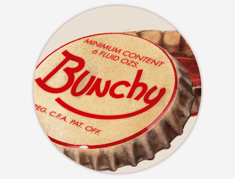 Detail of Bunchy bottle cap - digital paint - retro advertisement - design and illustration by Cesare Asaro - Curio & Co. - Curio and Co. OG - www.curioandco.com