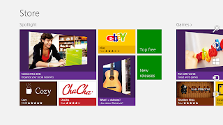 This is a view of the windows 8 store main page