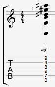 Emajor13 guitar chord lenny srv