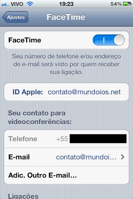 FaceTime - Telefone e E-mail