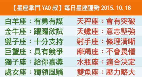 【星座掌門YAO叔】每日星座運勢2015.10.16