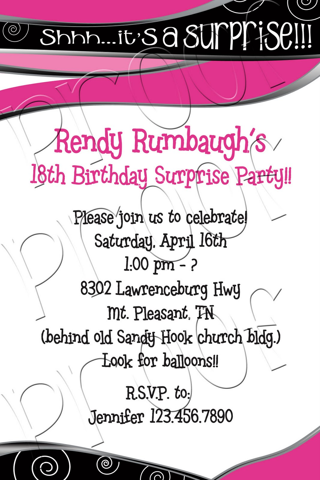 18Th Birthday Debut Invitation Messages http://fanciprintsbytiffany.blogspot.com/2011/08/pink-black-18th-birthday-invitation.html