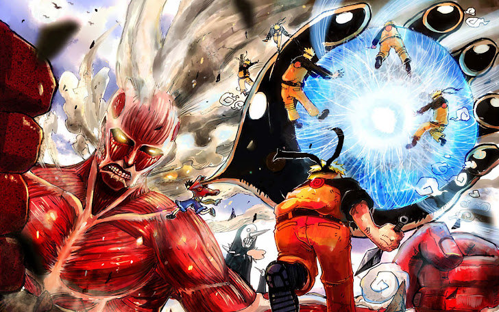 colossal titan / attack on titan, menos grande / bleach, monkey d luffy / one piece, uzumaki naruto