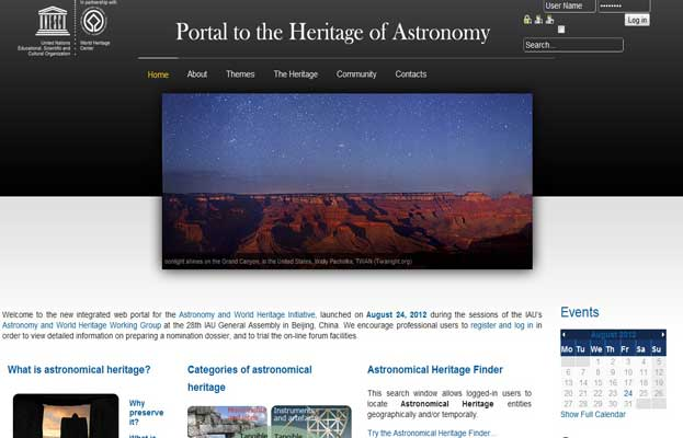 The Portal website to the Heritage of Astronomy UNESCO