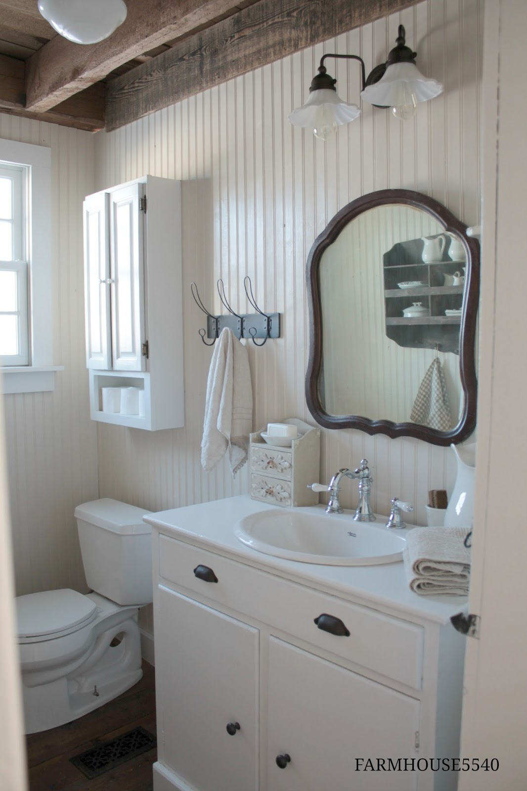 Farmhouse 5540 farmhouse powder room for Bathroom in room