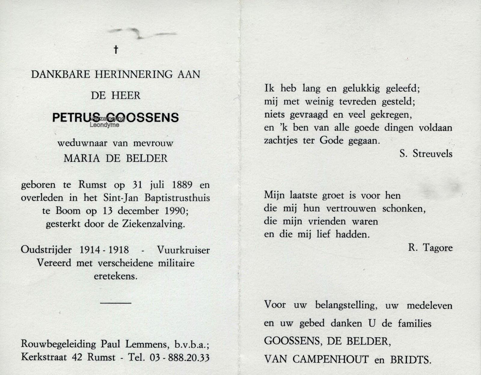 Bidprentje van oud-strijder/vuurkruiser Petrus Goossens 1889-1990. Verzameling Leondyme.