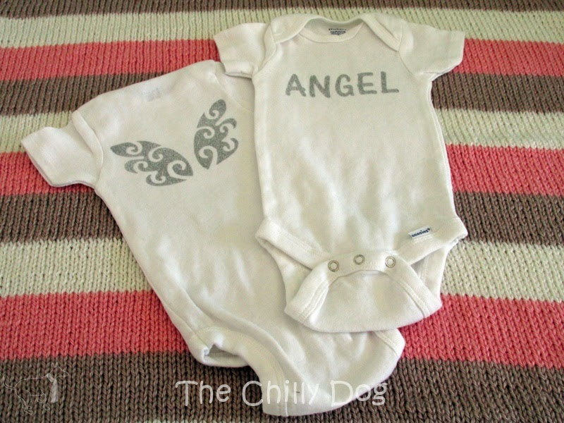 Free Silhouette Studio Cut File: How to make a pair of sparkly, angel wings onesies with heat transfer material
