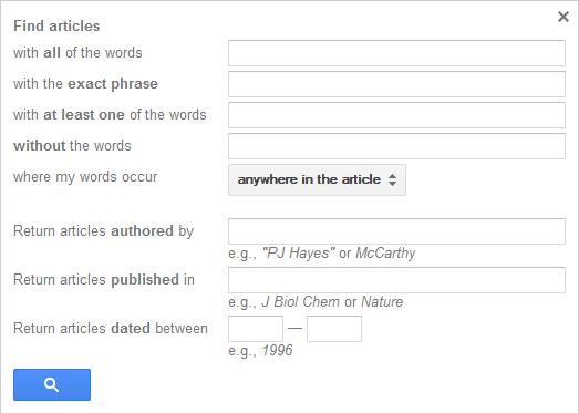 Opcje wyszukiwania w Google Scholar