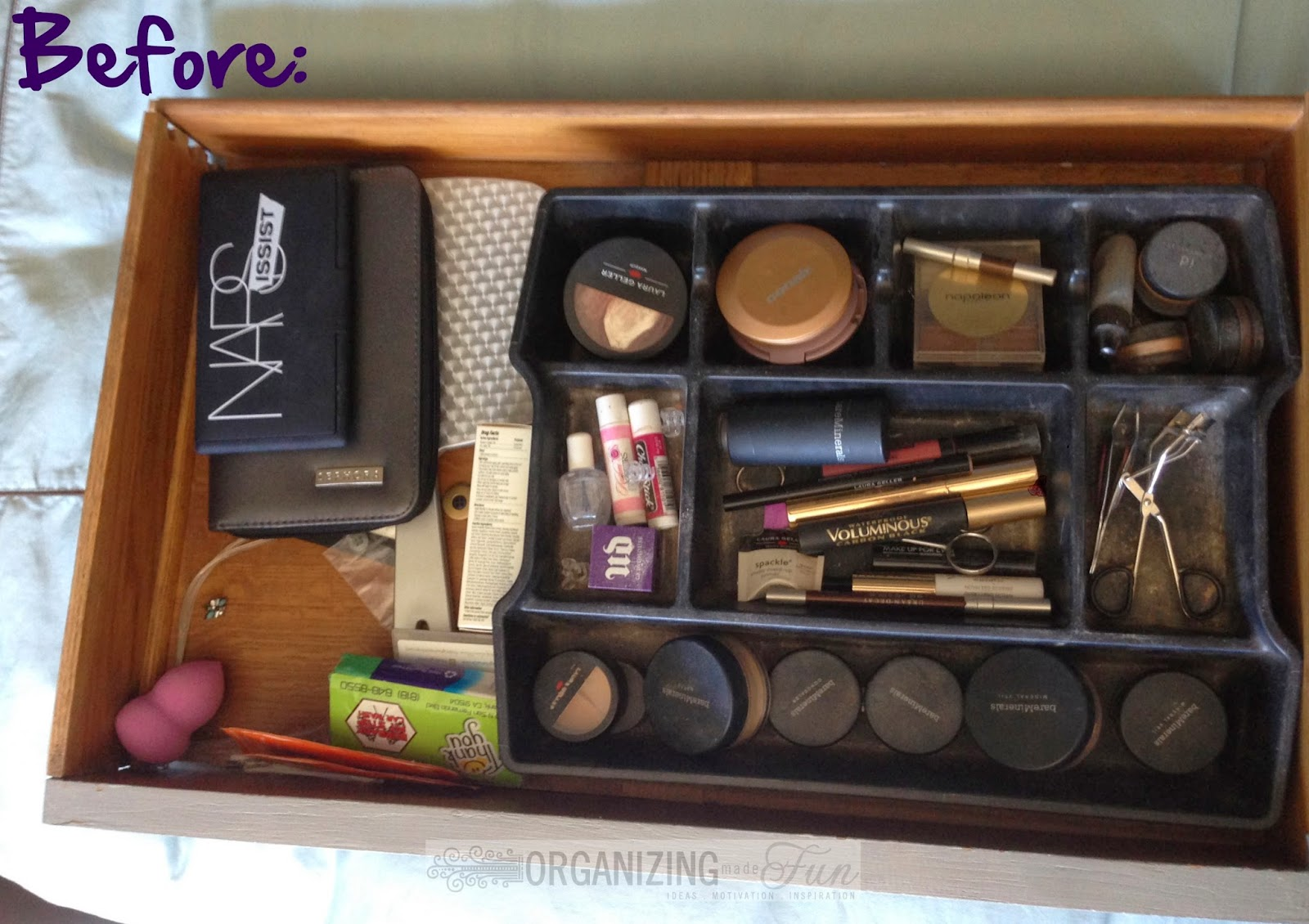 Make Up Organization - BEFORE :: OrganizingMadeFun.com