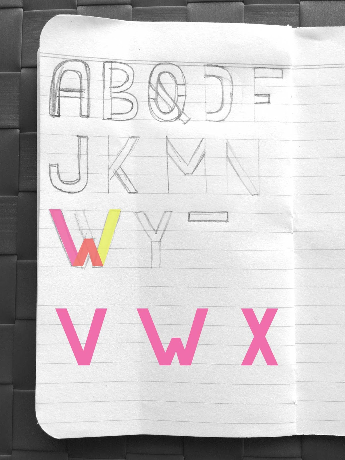 Drawing letters V, W, and X - Create a font with minimal sketching