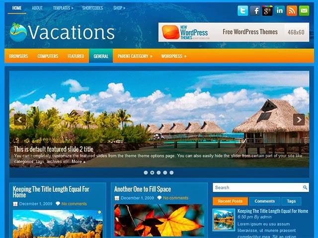 Vacations - Free Wordpress Theme