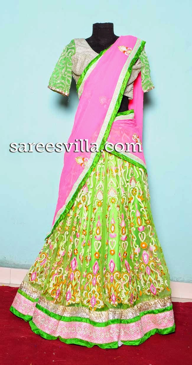 Heavy maggam work half saree