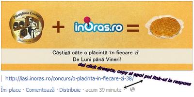 Concurs Placintaria Cristian si InOras va ofera o placinta in fiecare zi