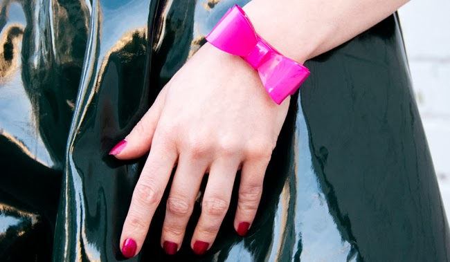 Topshop vinyl skirt, bow bangle, pink bangle