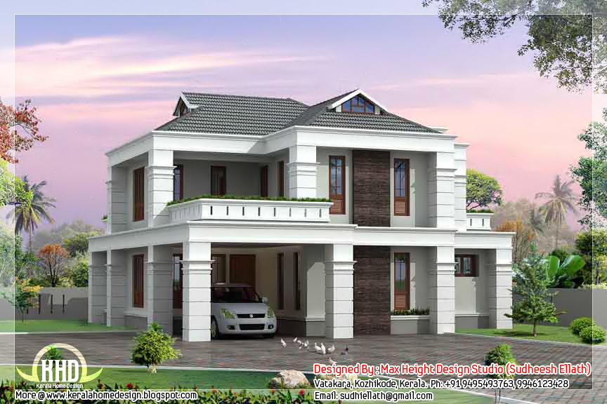 2000 4 bedroom kerala villa design kerala home for 4 bedroom villa designs