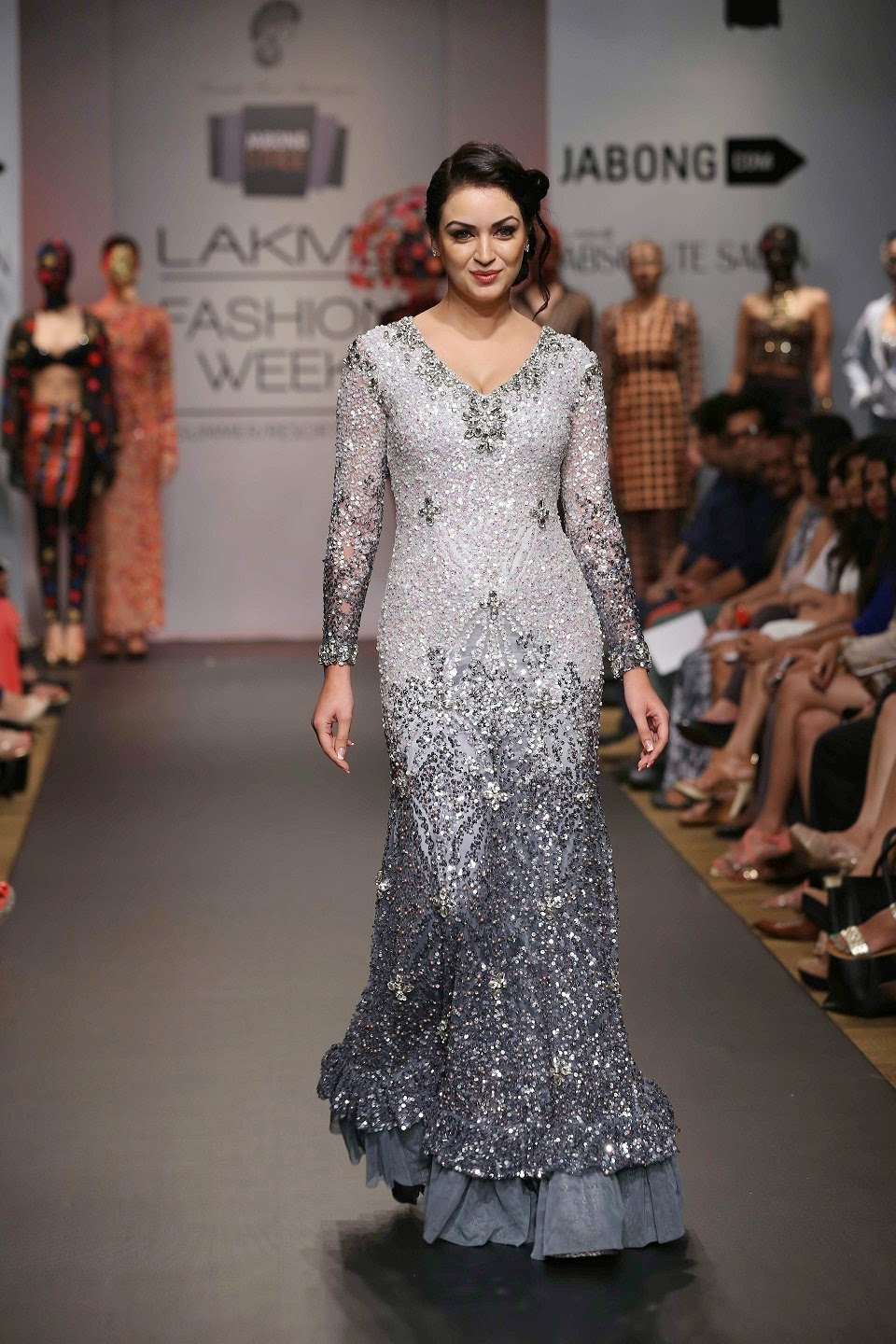 "Two pieces which stood out were a gorgeous black bejewelled bustier gown with a mermaid skirt and a ravishing white fitted jewel, encrusted gown worn by Swedish-Iranian beauty Mariam Zakaria, star of ""Grand Masti""."