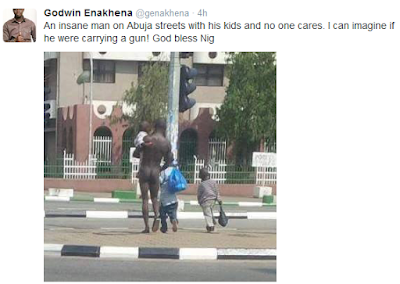 Bizarre Friday....Naked Man spotted  roaming the Streets Of Abuja With 3 well dressed kids [Photo]