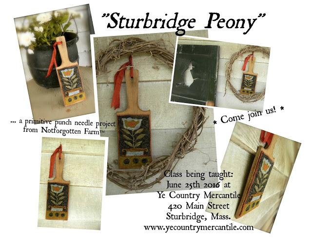 """Sturbridge Peony"" Punch Needle Class ~ June 25th 2016 at Ye Country Mercantile in Sturbridge, Mass"